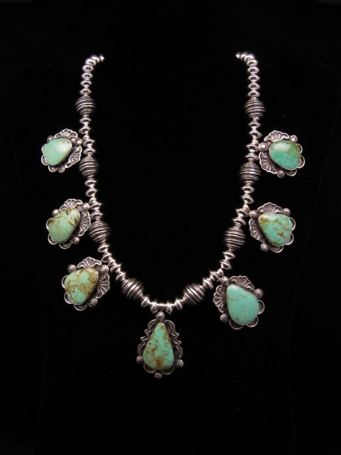 Image 7 of Navajo Native American Turquoise Silver Bead Necklace, Everett & Mary Teller