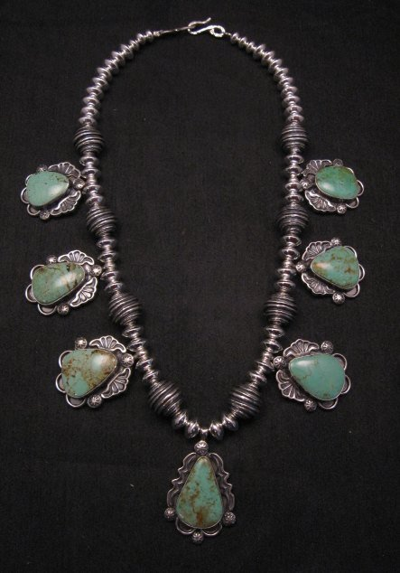 Image 6 of Navajo Native American Turquoise Silver Bead Necklace, Everett & Mary Teller