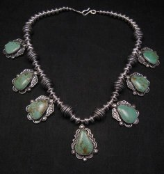 Navajo Native American Turquoise Silver Bead Necklace, Everett & Mary Teller