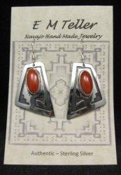 Navajo ~ Everett & Mary Teller ~ Coral Silver Earrings