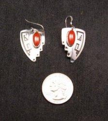 Navajo Native American ~ Everett & Mary Teller ~ Coral Silver Earrings