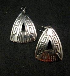 Native American Navajo Silver Overlay Earrings, Everett & Mary Teller