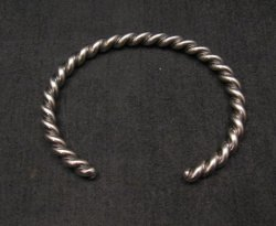 Navajo Native American Twisted Sterling Silver Bracelet, Travis EMT Teller