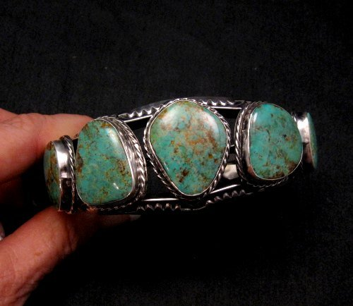 Image 1 of Extra Large Navajo Manasa Turquoise Silver Cuff Bracelet, Travis Teller
