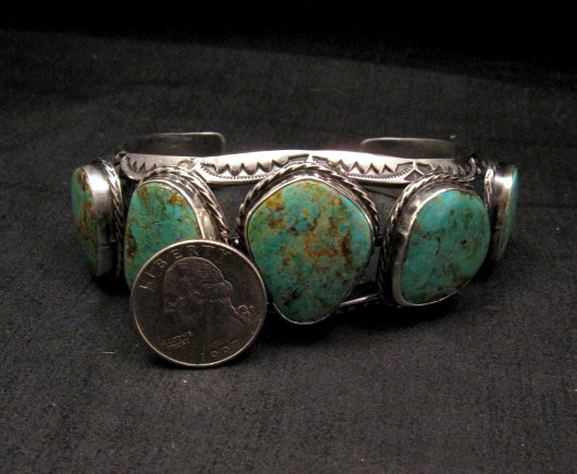 Image 5 of Extra Large Navajo Manasa Turquoise Silver Cuff Bracelet, Travis Teller