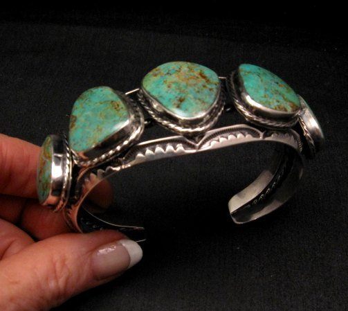 Image 4 of Extra Large Navajo Manasa Turquoise Silver Cuff Bracelet, Travis Teller