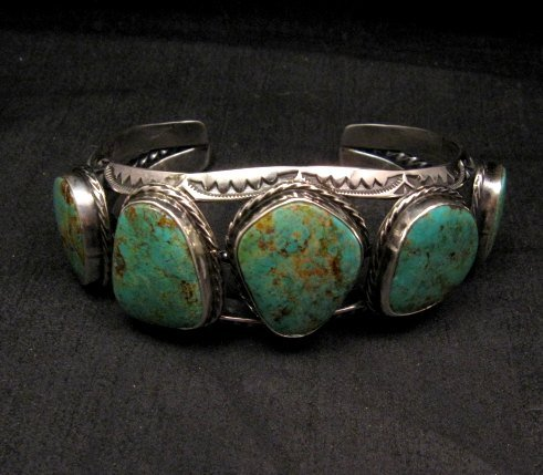 Image 6 of Extra Large Navajo Manasa Turquoise Silver Cuff Bracelet, Travis Teller