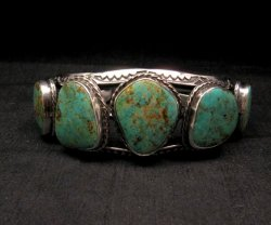Extra Large Navajo Manasa Turquoise Silver Cuff Bracelet, Travis Teller
