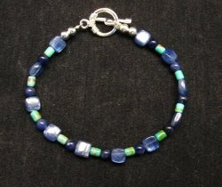 Dainty Navajo Indian Lapis Turquoise Bead Bracelet, Everett & Mary Teller
