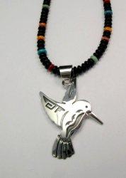 Navajo Jewelry Silver Overlay Hummingbird Pendant, Everett & Mary Teller