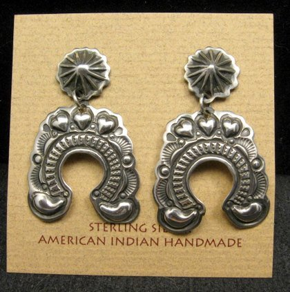 Image 1 of Native American Darryl Becenti Navajo Naja Sterling Silver Earrings