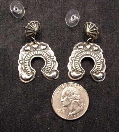 Image 2 of Native American Darryl Becenti Navajo Naja Sterling Silver Earrings