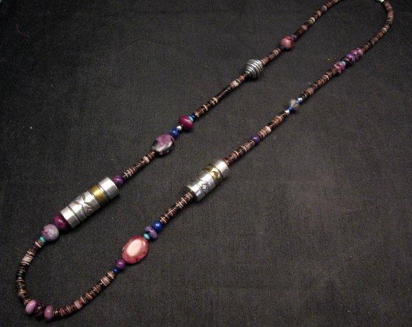 Image 1 of Long Everett & Mary Teller Navajo Sugilite Multigem Bead Silver Barrel Necklace