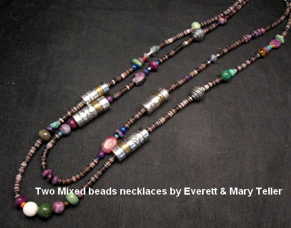 Image 6 of Long Everett & Mary Teller Navajo Mixed Shell Bead Heishi Silver Barrel Necklace