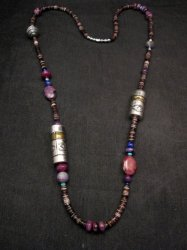 Long Everett & Mary Teller Navajo Sugilite Multigem Bead Silver Barrel Necklace