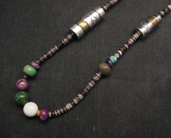 Image 4 of Long Everett & Mary Teller Navajo Mixed Shell Bead Heishi Silver Barrel Necklace
