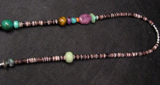 Image 5 of Long Everett & Mary Teller Navajo Mixed Shell Bead Heishi Silver Barrel Necklace