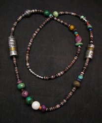 Long Everett & Mary Teller Navajo Mixed Shell Bead Heishi Silver Barrel Necklace
