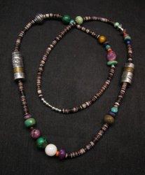 Long Everett & Mary Teller Navajo Sugilite Multigem Bead Silver Barrel Necklace