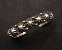 Old Pawn Style Starred Button Studded Silver Bracelet Navajo Happy Piasso, Large