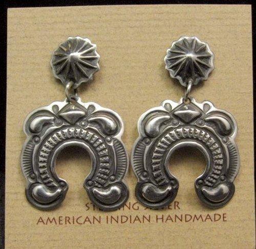 Image 0 of Native American Darryl Becenti Navajo Repousse Naja Sterling Silver Earrings