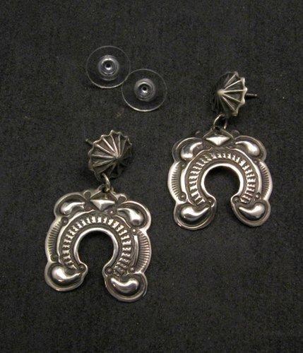 Image 2 of Native American Darryl Becenti Navajo Repousse Naja Sterling Silver Earrings