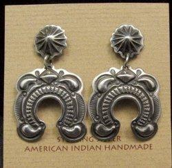 Native American Darryl Becenti Navajo Repousse Naja Sterling Silver Earrings