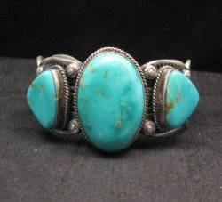 Big Navajo Native American Kingman Turquoise Silver Cuff Bracelet, Gilbert Tom