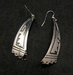 Long Native American Navajo Sterling Silver Earrings, Everett & Mary Teller