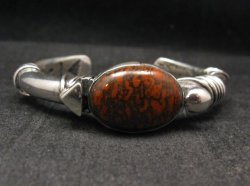Navajo Orville Tsinnie Dinosaur Bone Silver Bracelet Native American, Small