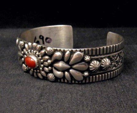 Image 2 of Navajo Darryl Becenti Native American Coral Silver Bracelet