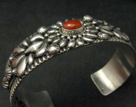 Image 3 of Navajo Darryl Becenti Native American Coral Silver Bracelet