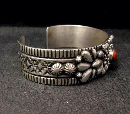 Image 4 of Navajo Darryl Becenti Native American Coral Silver Bracelet