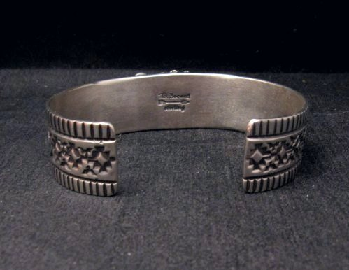 Image 5 of Navajo Darryl Becenti Native American Coral Silver Bracelet