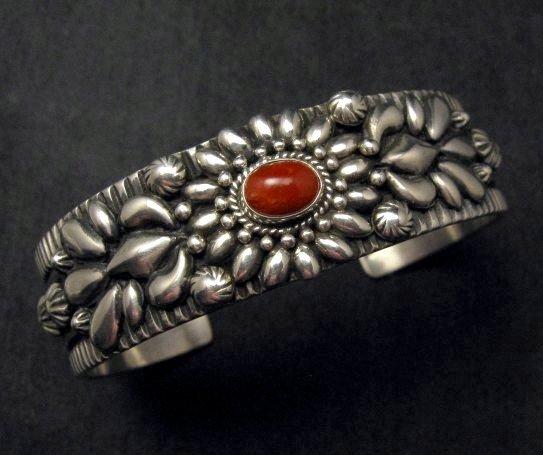 Image 0 of Navajo Darryl Becenti Native American Coral Silver Bracelet
