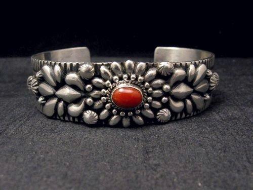 Image 1 of Navajo Darryl Becenti Native American Coral Silver Bracelet