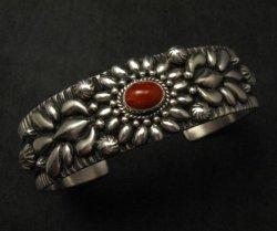 Navajo Darryl Becenti Native American Coral Silver Bracelet