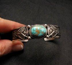 Navajo Native American Pilot Mtn Turquoise Silver Bracelet, Albert Jake