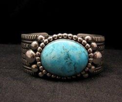 Big Navajo Native American Turquoise Silver Bracelet, Guy Hoskie