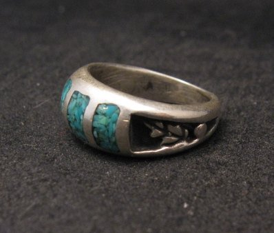 Image 1 of Vintage Native American Turquoise Chip Inlay Ring sz5