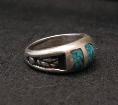 Image 3 of Vintage Native American Turquoise Chip Inlay Ring sz5