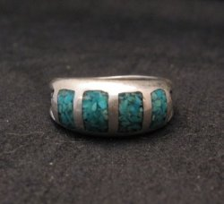 Vintage Native American Turquoise Chip Inlay Ring sz5