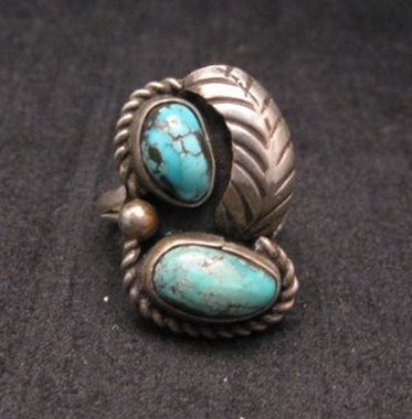 Image 0 of Vintage Navajo Double Turquoise Silver Ring sz5