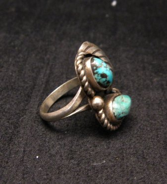 Image 1 of Vintage Navajo Double Turquoise Silver Ring sz5
