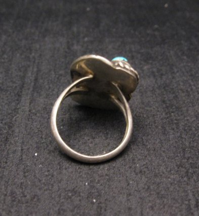 Image 2 of Vintage Navajo Double Turquoise Silver Ring sz5