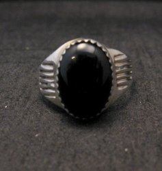 Native American Black Onyx Sterling Silver Ring Sz9