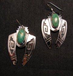Navajo Indian Sterling Silver Turquoise Naja Earrings, Everett & Mary Teller