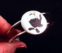 Sanford Edaakie Zuni American Bald Eagle Silver Bracelet