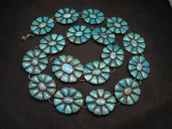 Fabulous Pre-Owned Turquoise Cluster Concho Link Belt, Federico Jimenez