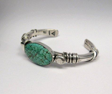 Image 3 of Orville Tsinnie Navajo Kingman Web Turquoise Bracelet, Extra-Large